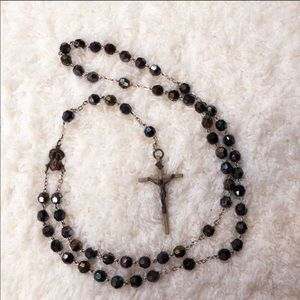 "Antique Rosary - 21"" - Black Iredescent Beads"
